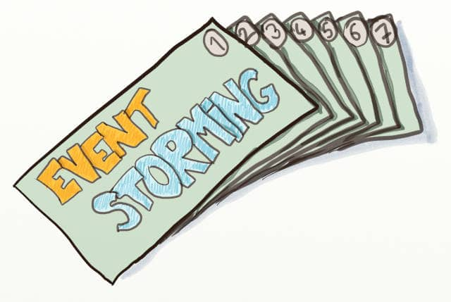 Drawing of a stack of 7 cards written Event Storming on the back.