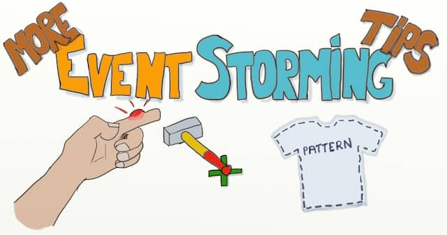 Drawing of a mistake and a T-shirt pattern with the writing 'More Event Storming Tips' above