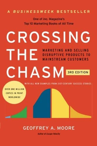 "The cover of the book ""Crossing the Chasm"". Technical agile coaching involves some marketing!"
