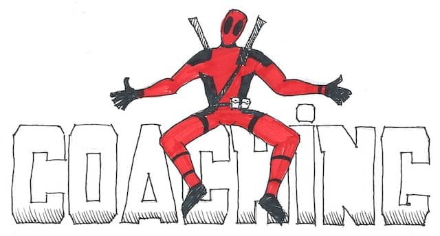 A drawing of Deadpool sitting on big letters 'Coaching'. My first mission as an Agile Technical Coaching was with a team called Deadpool