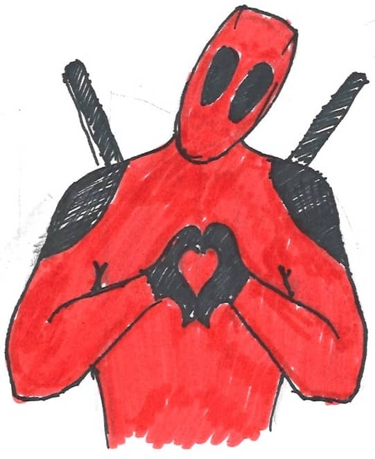 A drawing of Deadpool making a heart with his hands. Tensions in the Deadpool team went away. How much can this success be credited to Agile Technical Coaching is a tricky question!