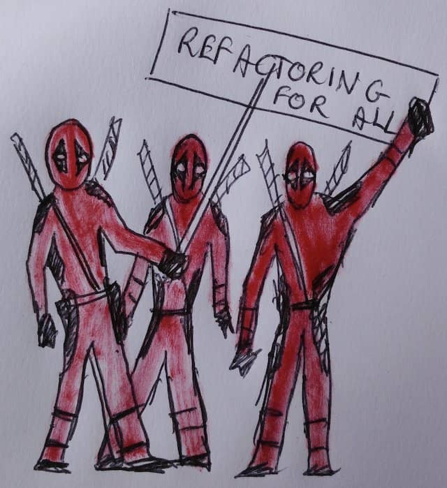 A drawing of a mob of Deadpool characters protesting for refactoring.