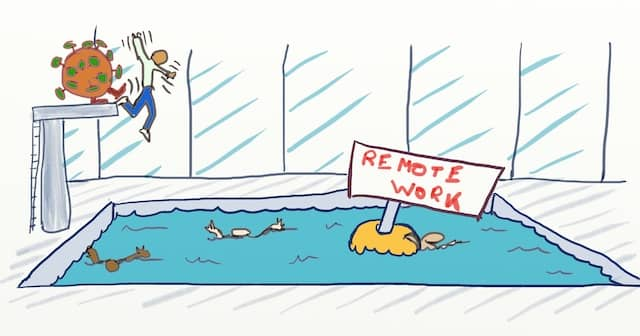 "Drawing of a swimming pool with a buoy paneled ""Remote Work"" Some people are trying to swim, while a virus is pushing more people in the pool. COVID-19 has thrown us into remote work. Here are 3 world-class open-source tools for remote pair programming that you can set up today."