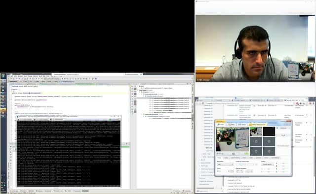 Screenshot of my first remote pair programming setup. I have been doing remote pair programming for more than 6 years now, and the tools were very basic at the time.