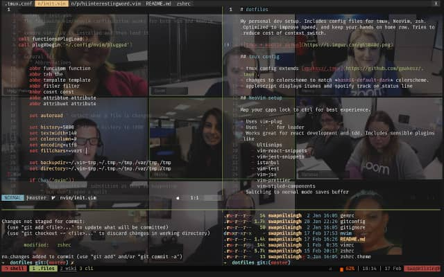 Superposition of a TMux client terminal over a video conference gallery view. This TMux setup allows us to see the code and people at the same time.