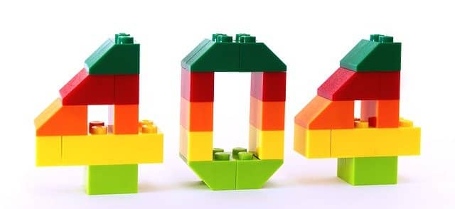 """Photo of the number 404 built out of Lego Bricks. There are things that you won't find in Emily Bache's """"Technical Agile Coaching with the Samman Method"""" book."""