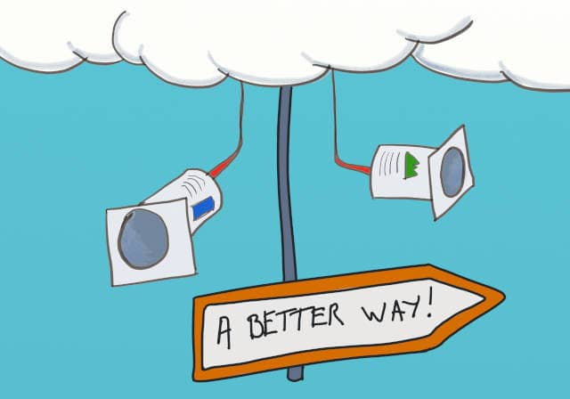 Drawing of 2 yaourt pots hanging from the clouds, with a sign board directing to 'A Better Way'. As technical agile coaches, we can leverage on the opportunities of remote pair coaching to show a better way to our coachees.