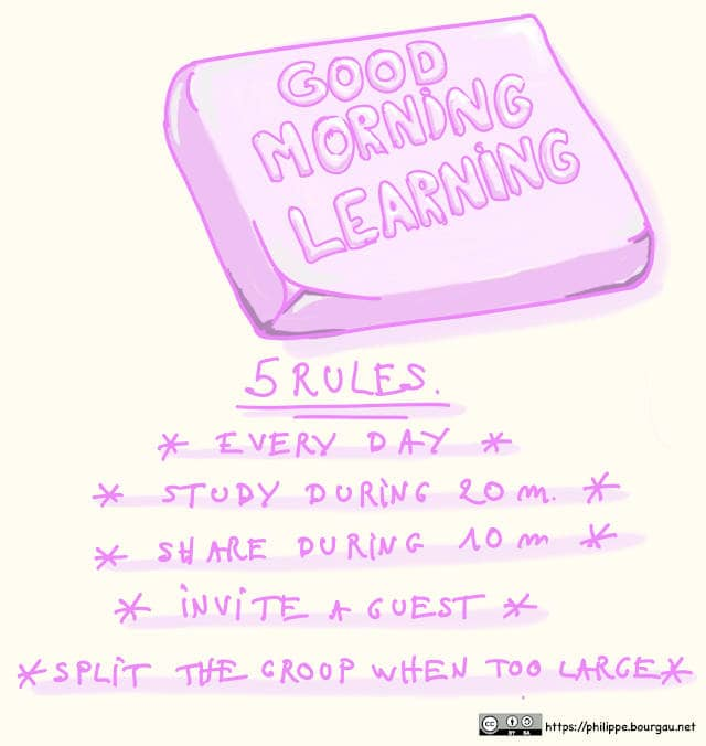 Drawing of a piece of soap, written Good Morning Learning. Below the soap are the 5 rules of Good Morning Learning: Every Day, Study during 20 minutes, Share during 10 minutes, Invite a Guest, Split the group when too large.