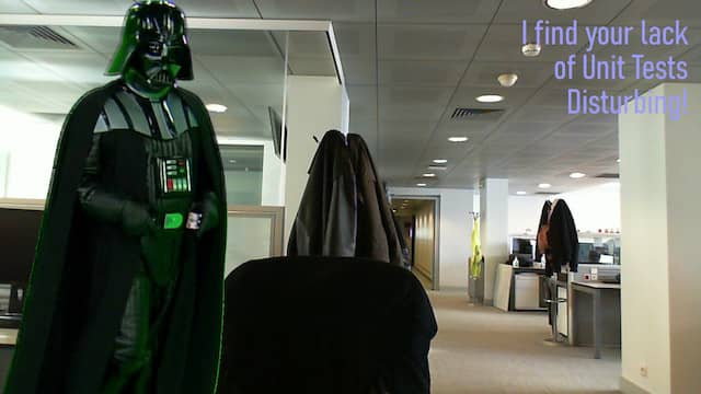 A made-up video conference background where we can see Darth Vador looking over my office chair. It is written 'I find your lack of unit tests disturbing' in one corner!