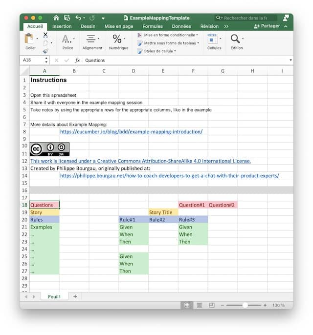 Screenshot of a spreadsheet that we can use as a simple Example-Mapping Online Tool. Simple tools have the advantages of being usable by everyone