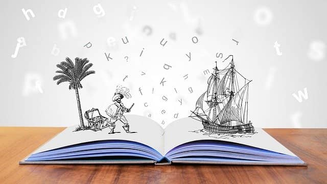 Picture of an opened book with drawings of a pirate and a ship getting out of the book. Here is a one of my success story with Example-Mapping.