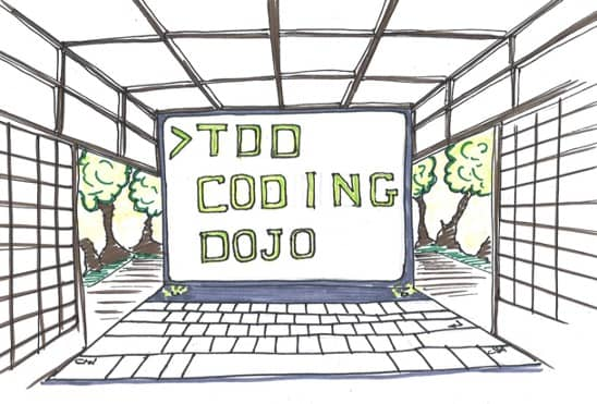 Drawing of a martial art dojo with the floor being a keyboard and the back wall being the screen of a laptop where we can read TDD Coding Dojo. This is the poster I setup to get people to attend a coding dojo where they could learn TDD.