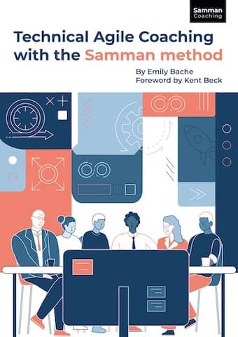 """Cover of Emily Bache's book """"Technical Agile Coaching with the Samman Method"""". The book contains a lot of personal organization advices for technical agile coaches. She goes in more detail about why she alternates 3 weeks of presence and absence with the teams"""