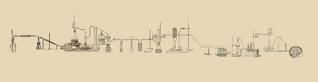 A long chain of lab experimental equipment that ends with a brain. Using hypothesis driven development when defining our goals lets us experiment and learn consciously