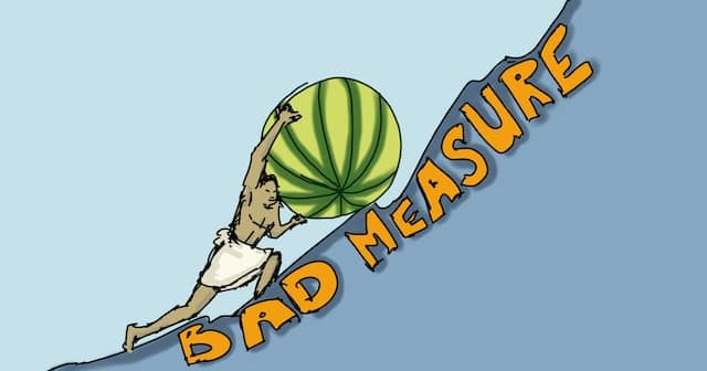 Drawing of Sisyphus pushing a giant watermelon up a steep slope written 'Bad Measure'. Like watermelons, bad measures look green on the outside, but red when you look inside! Badly measuring our technical agile coaching work can be demotivating.